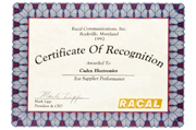 1992 - Certificate of Recognition