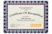 1994 - Certificate of Recognition